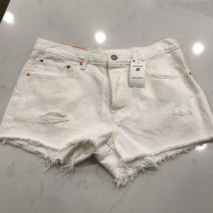 Levi's 501 white jean cut offs size 30 distressed